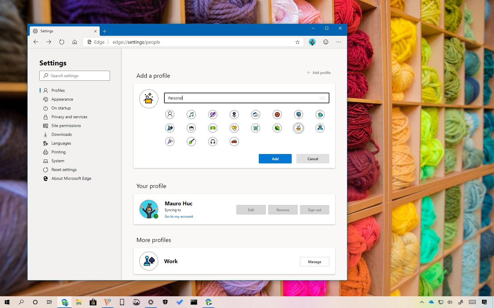 Microsoft Edge Chromium add new profile