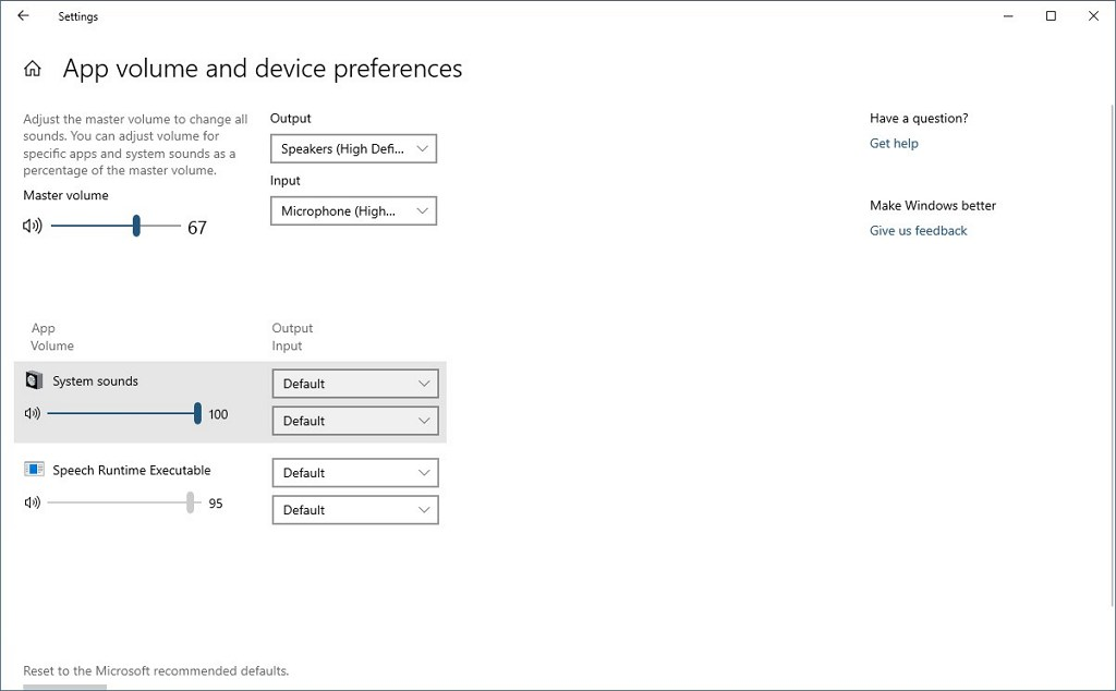 App volume and device preferences on Windows 10 20H1