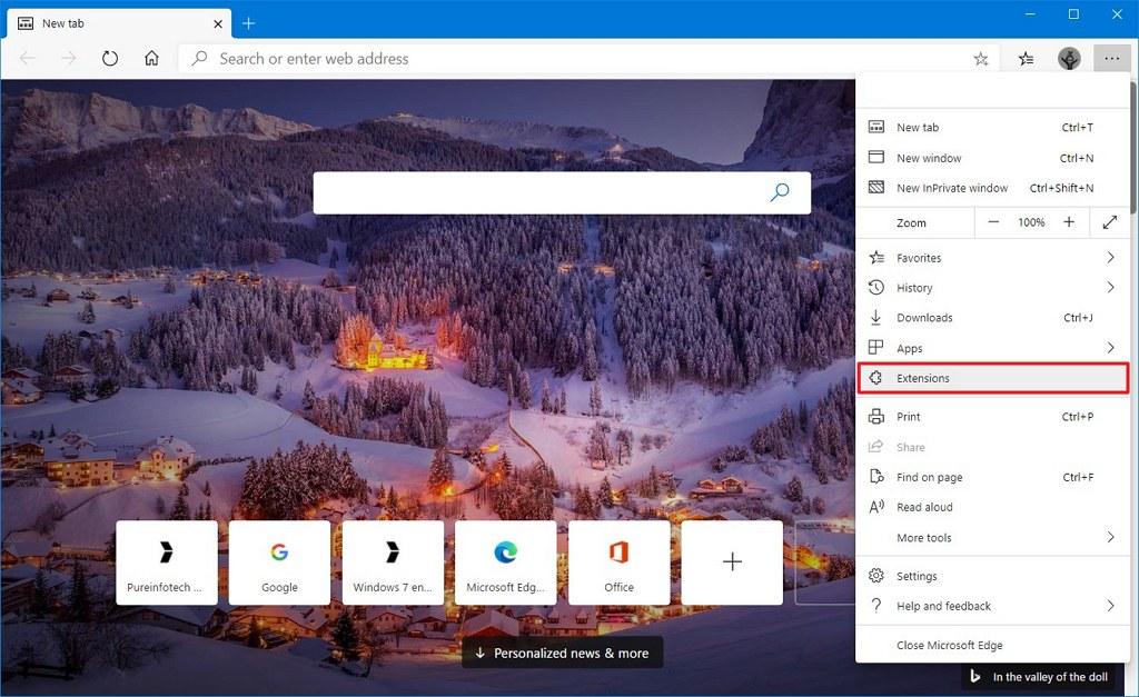 Microsoft Edge Chromium extensions option