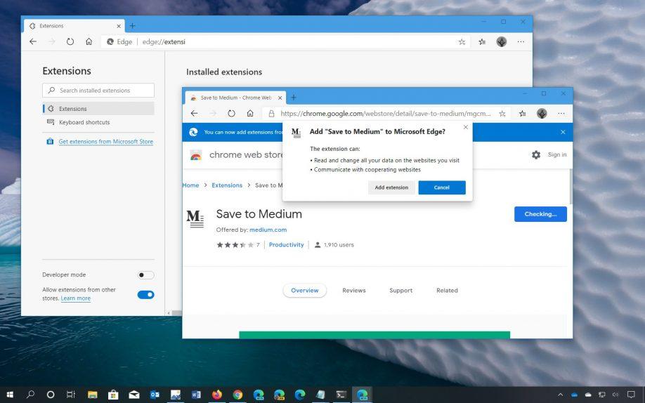 Chromium Edge install Chrome extensions