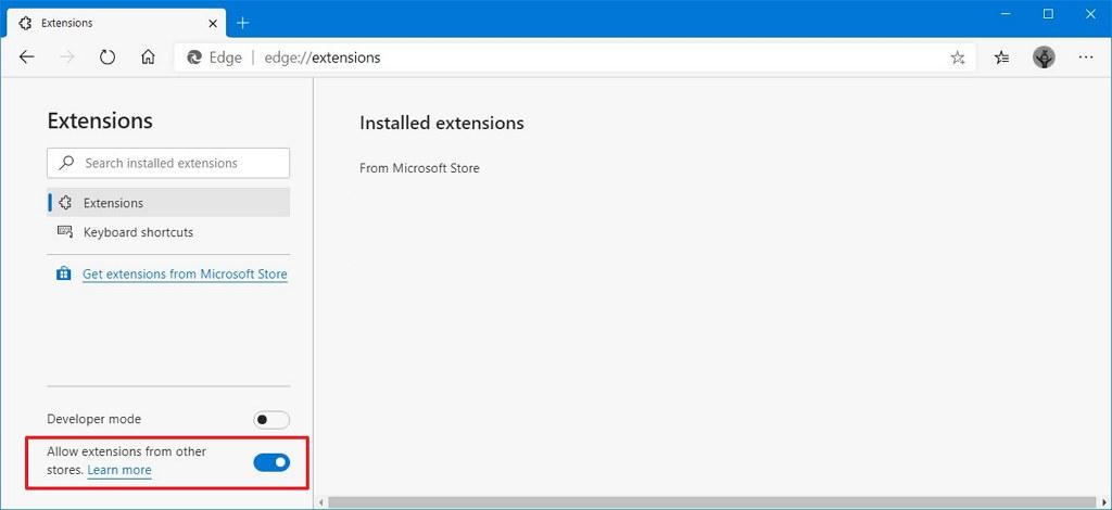 Microsoft Edge enable Chrome extensions