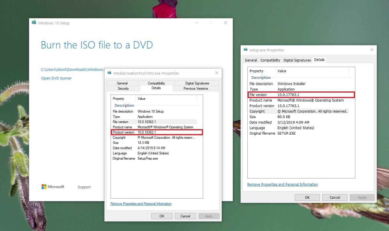 Media Creation Tool version (left), Windows 10 ISO version (right)