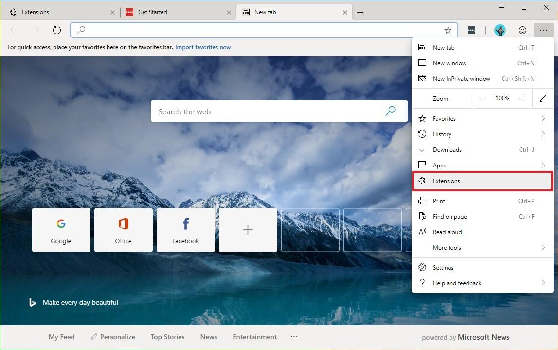 Microsoft Edge, Chromium, extensions