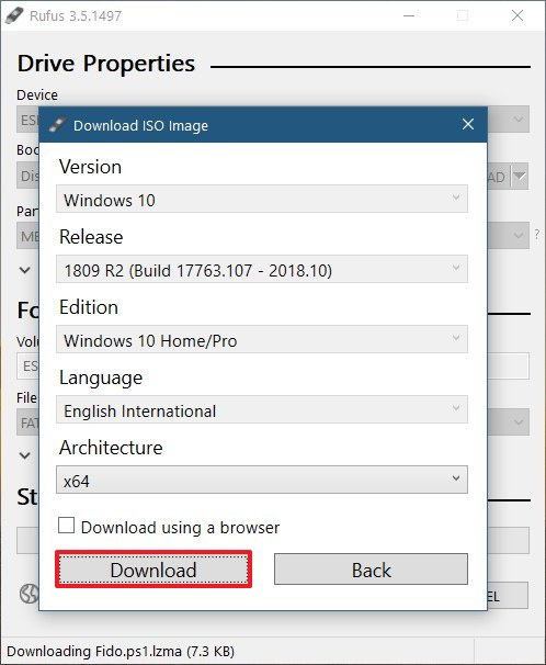 Download the Windows 10 ISO using Rufus