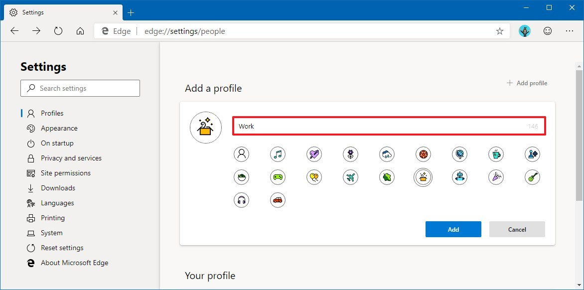 Set up new profile on Microsoft Edge