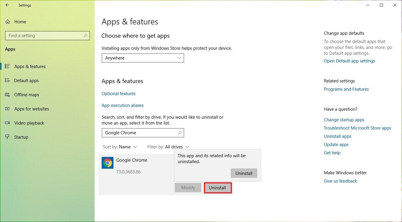 Uninstall Google Chrome from Windows 10