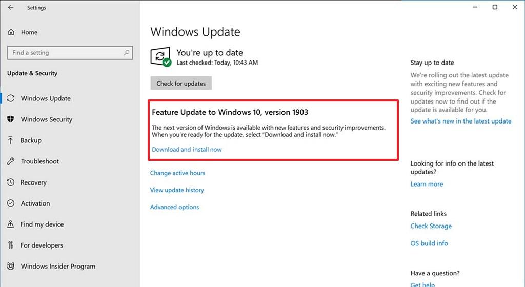 Windows 10 version 1903 install option in Windows Update settings