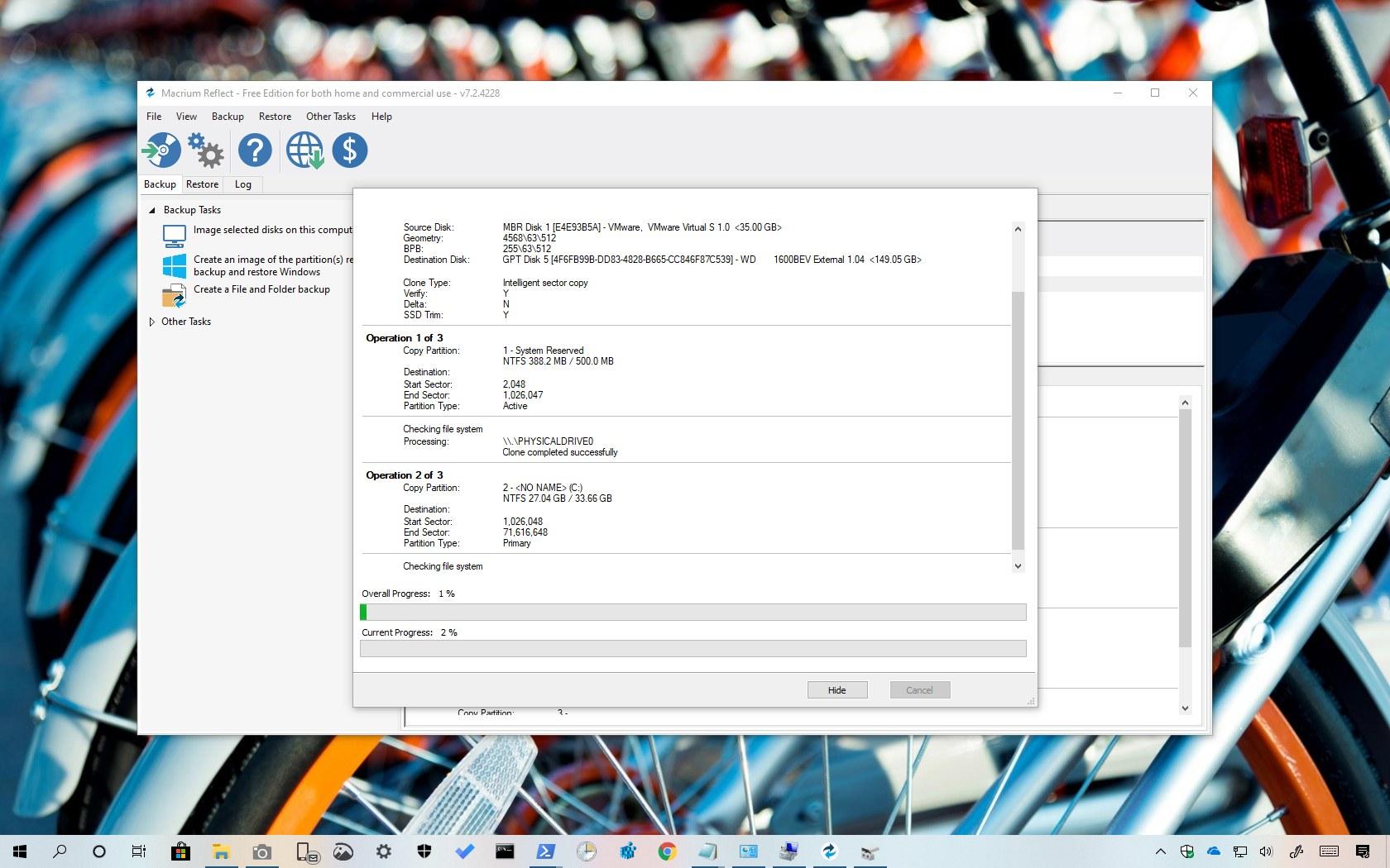 Clone drive using Macrium Reflect on Windows 10