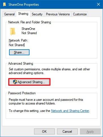 Folder sharing settings