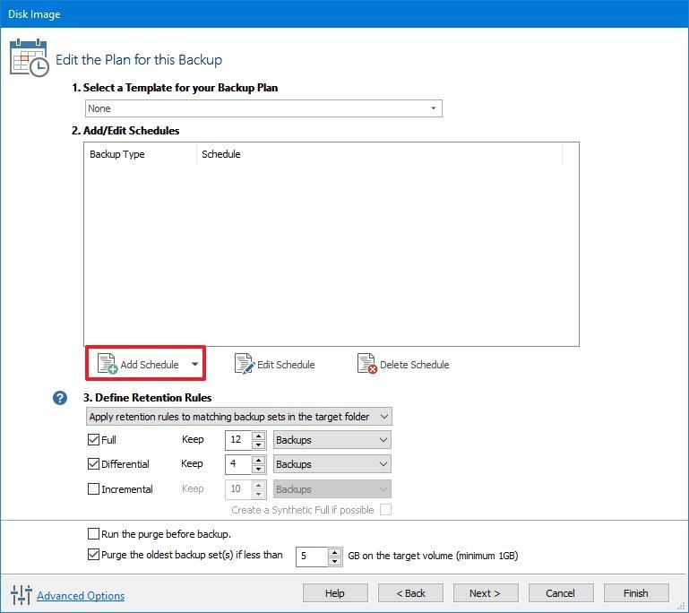 Macrium Reflect full backup of Windows 10 schedule