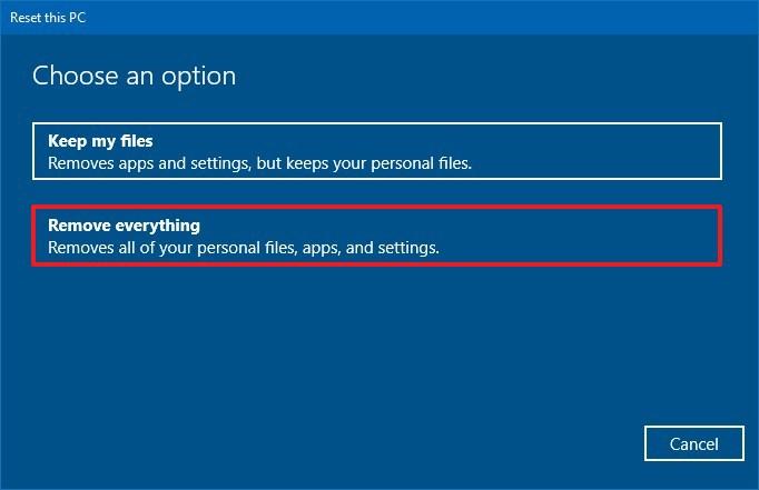 Windows 10 remove everything option