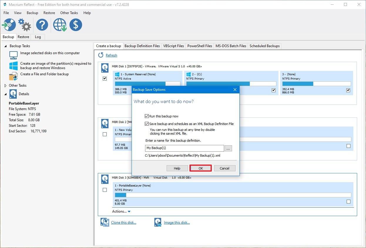 Macrium Reflect save backup settings