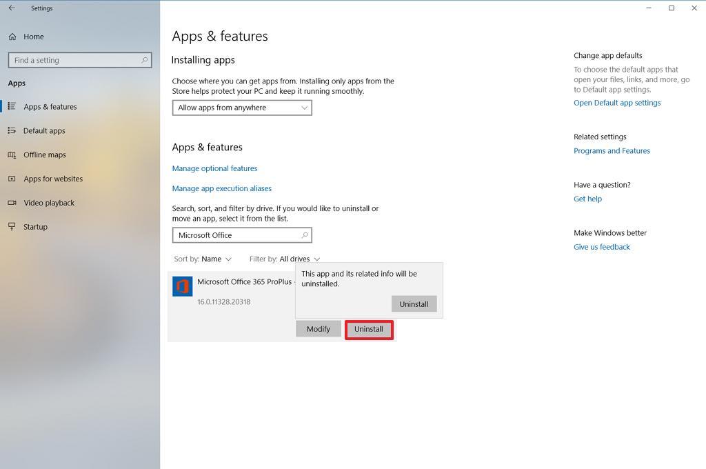 Uninstall Office using the Settings app on Windows 10