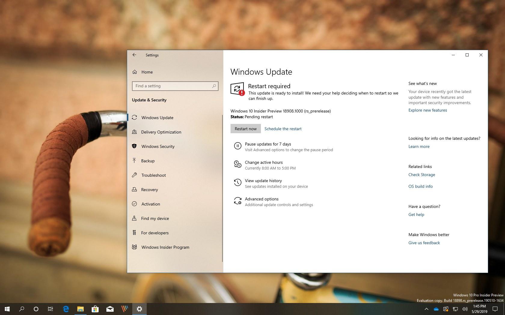 Windows 10 build 18908