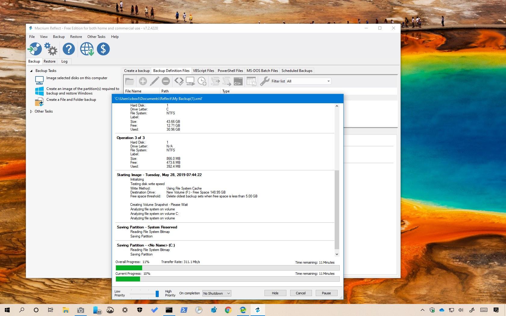 Windows 10 full backup using Macrium Reflect