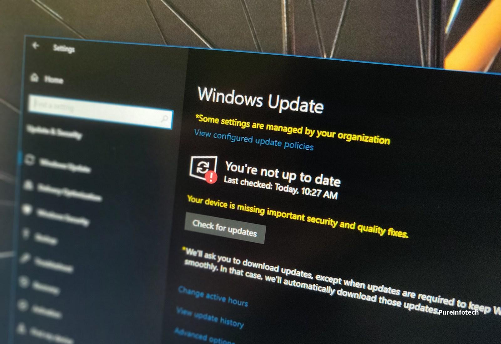 Windows 10 updates settings