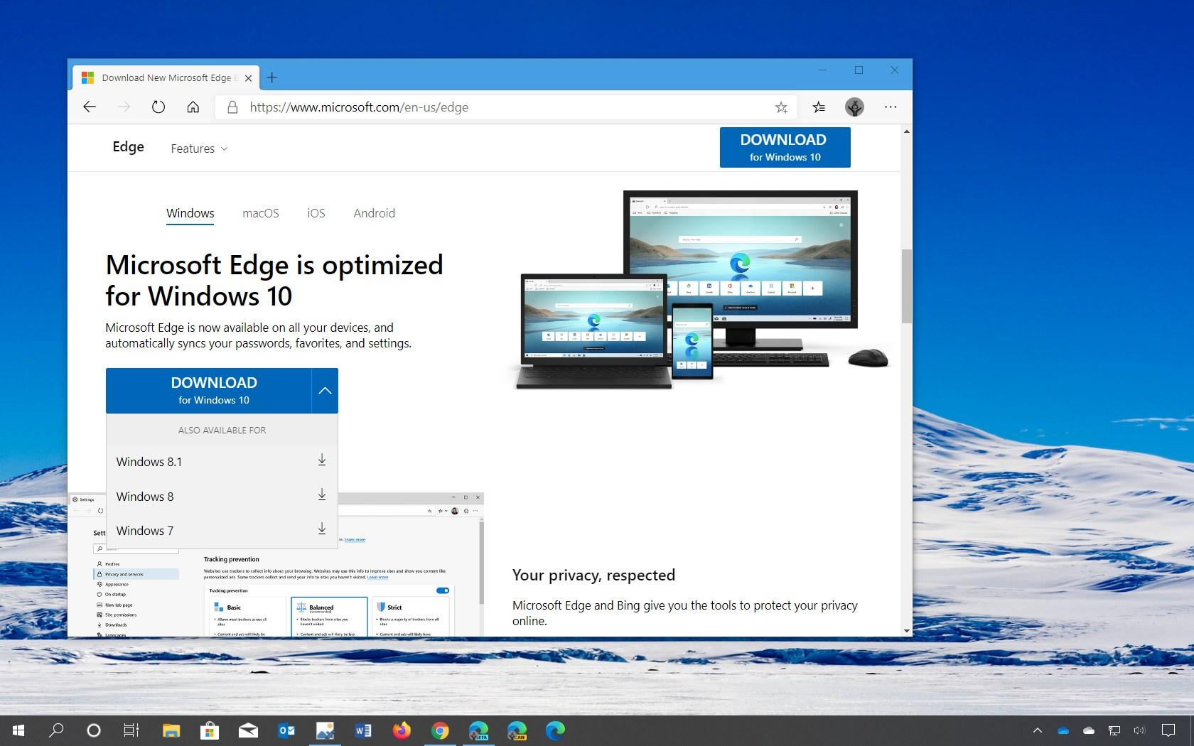 Microsoft Edge Chromium for Windows 7, 8, 8.1