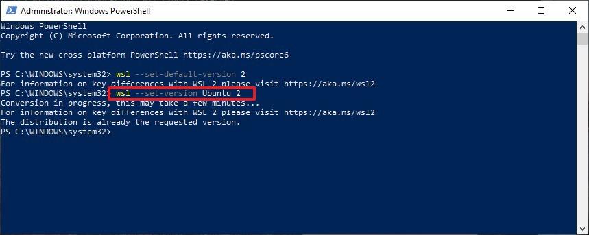 Convert distro WSL 1 to WSL 2 on Windows 10 20H1
