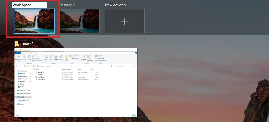 Rename virtual desktop option on Windows 10 20H1