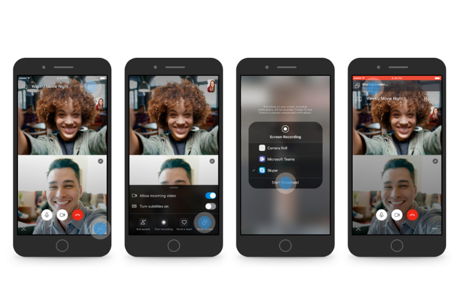 Skype screen sharing on Android and iOS