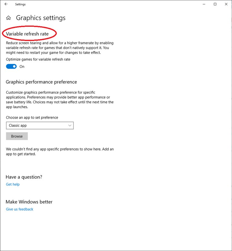 Variable refresh rate setting on Windows 10