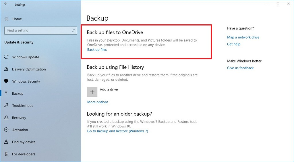Backup settings with option to backup files to OneDrive