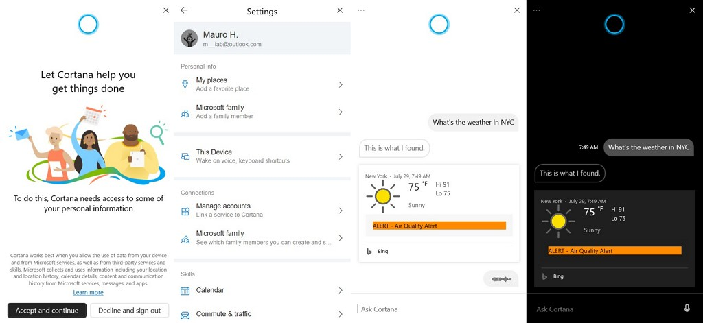 Cortana app for Windows 10 20H1