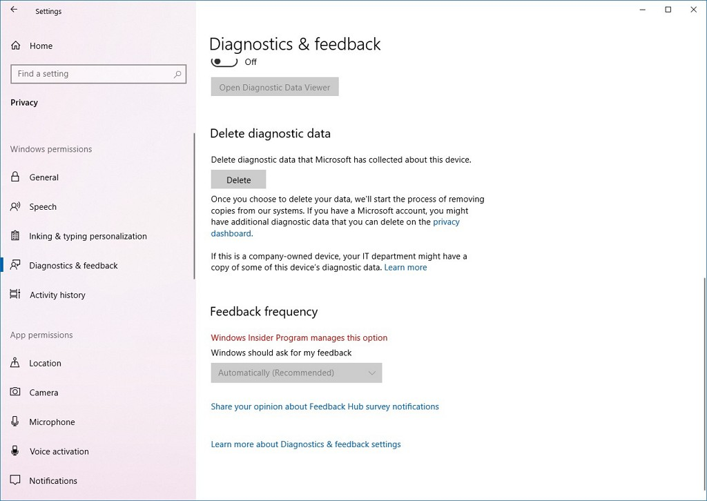 Diagnostic & feedback page without Recommended Troubleshooting settings