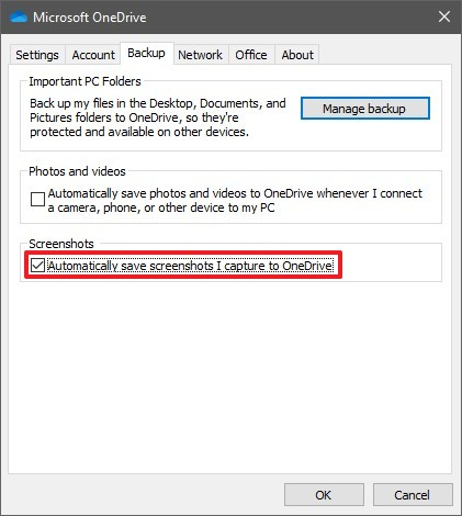 Enable  Automatically save screenshots I capture to OneDrive