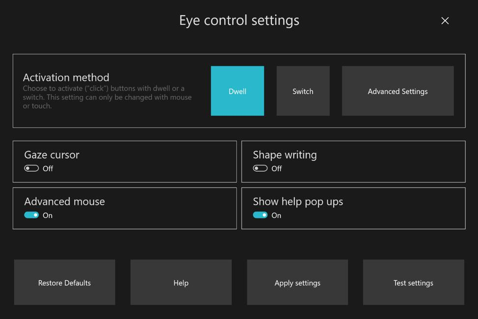 Eye Control settings on Windows 10 20H1