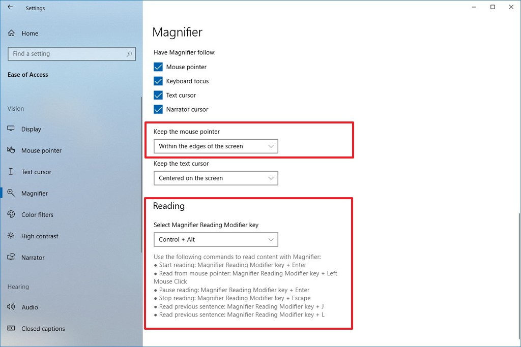 Magnifier settings on Windows 10 version 2003