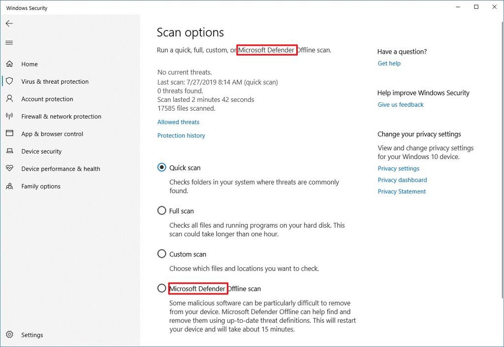 Microsoft Defender on Windows 10 version 2004