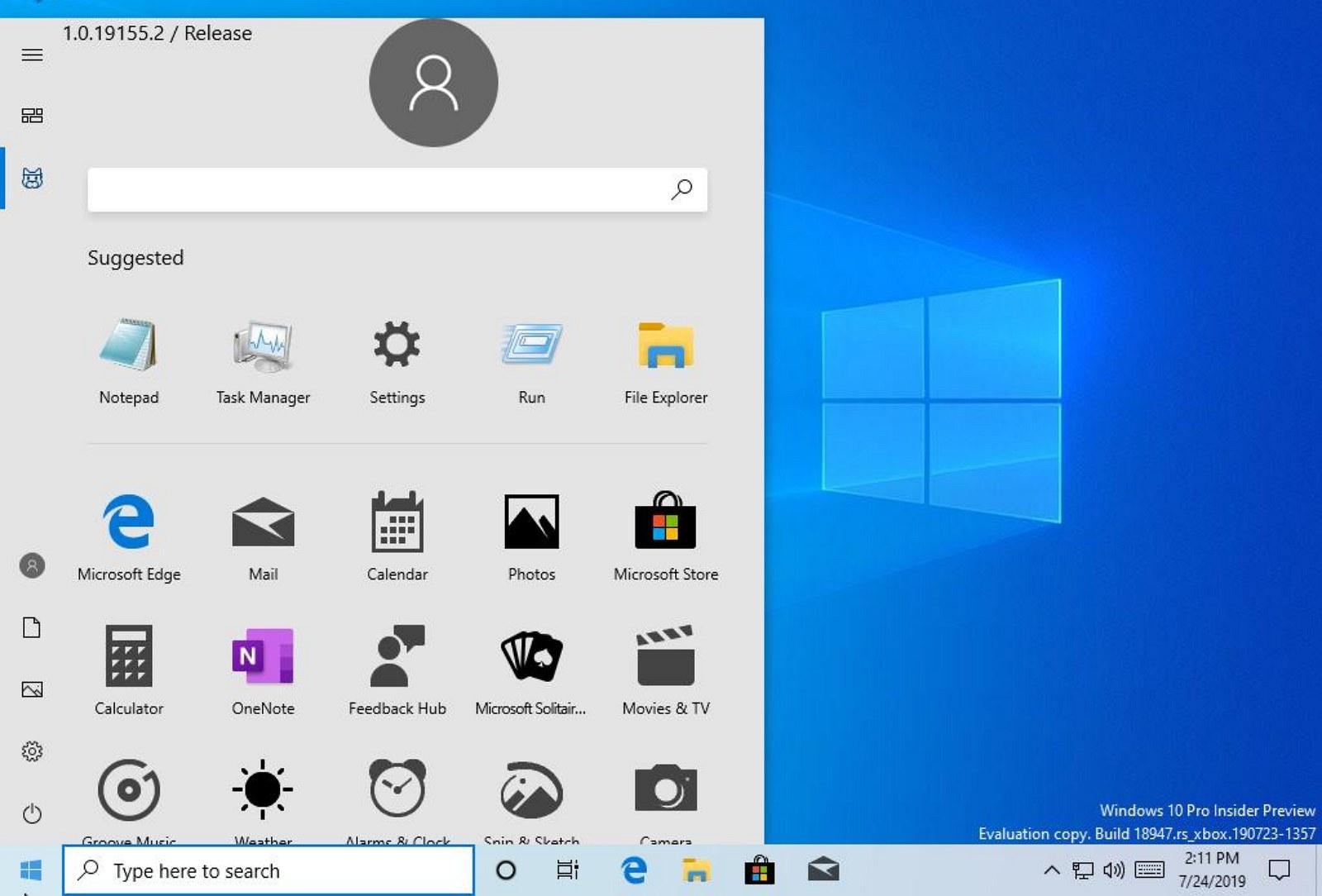New Start menu on Windows 10. Image source @NTAuthority