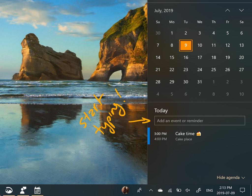 Quick event option taskbar on Windows 10 20H1