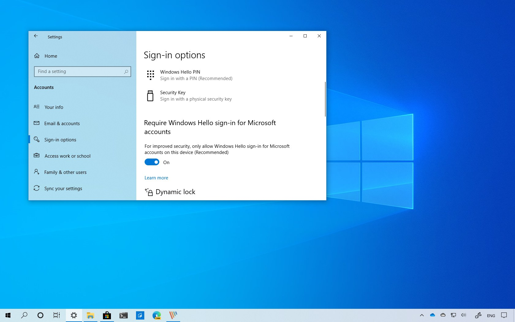 Remove password and require only Windows Hello for sign-in option