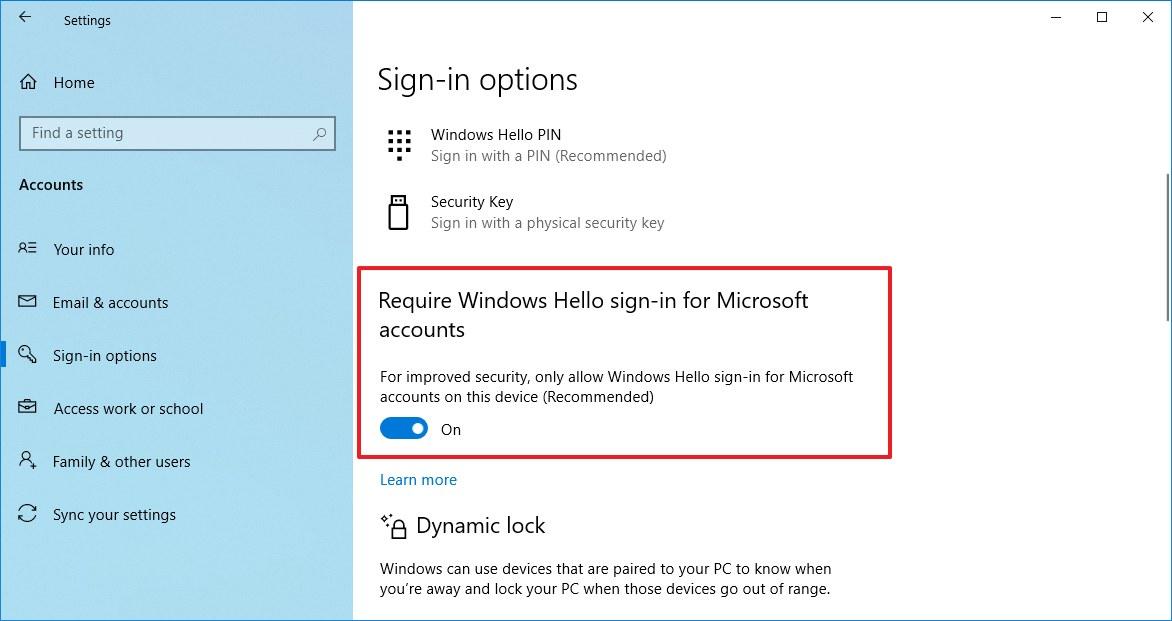 Windows 10 Require Windows Hello sign-in for Microsoft accounts option