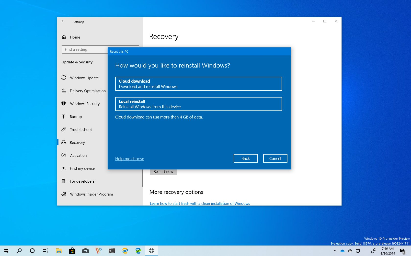 Reset this PC with Cloud Download option
