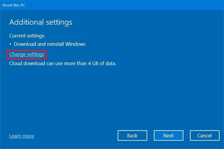 Reset this PC advanced settings option