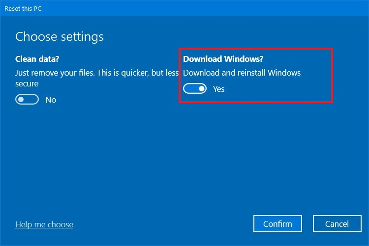 Reset this PC, download Windows 10 install files