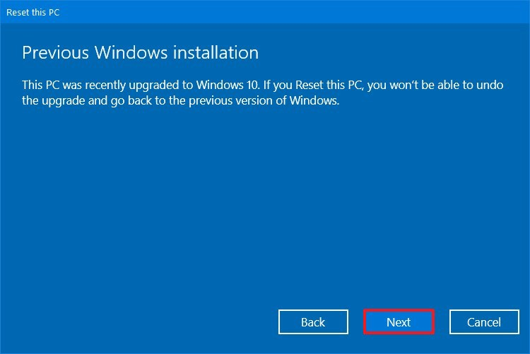 Reset this PC, previous installation warning