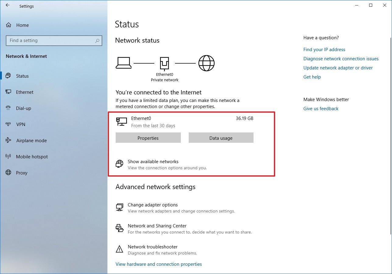 Status settings on Windows 10 20H1