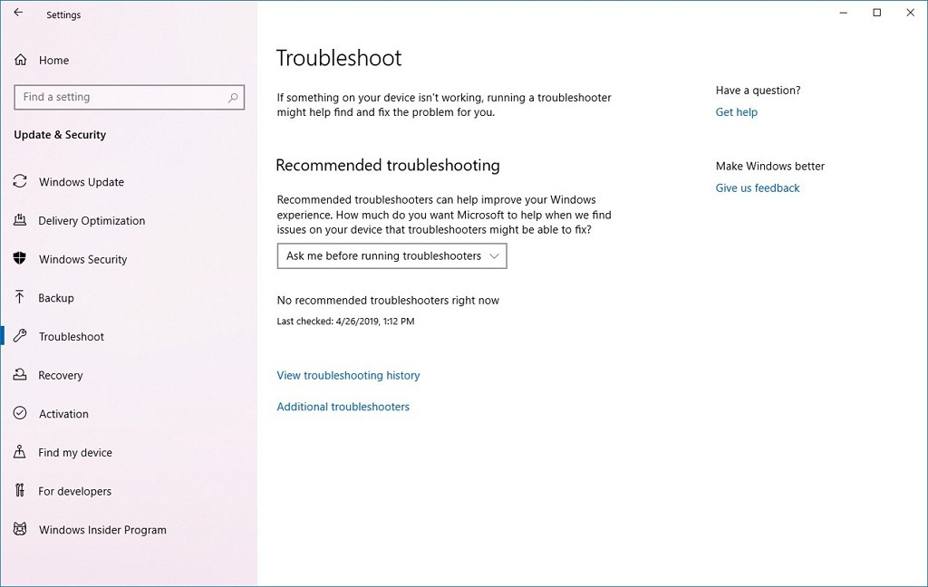 Troubleshoot page without troubleshooters on Windows 10 20H1