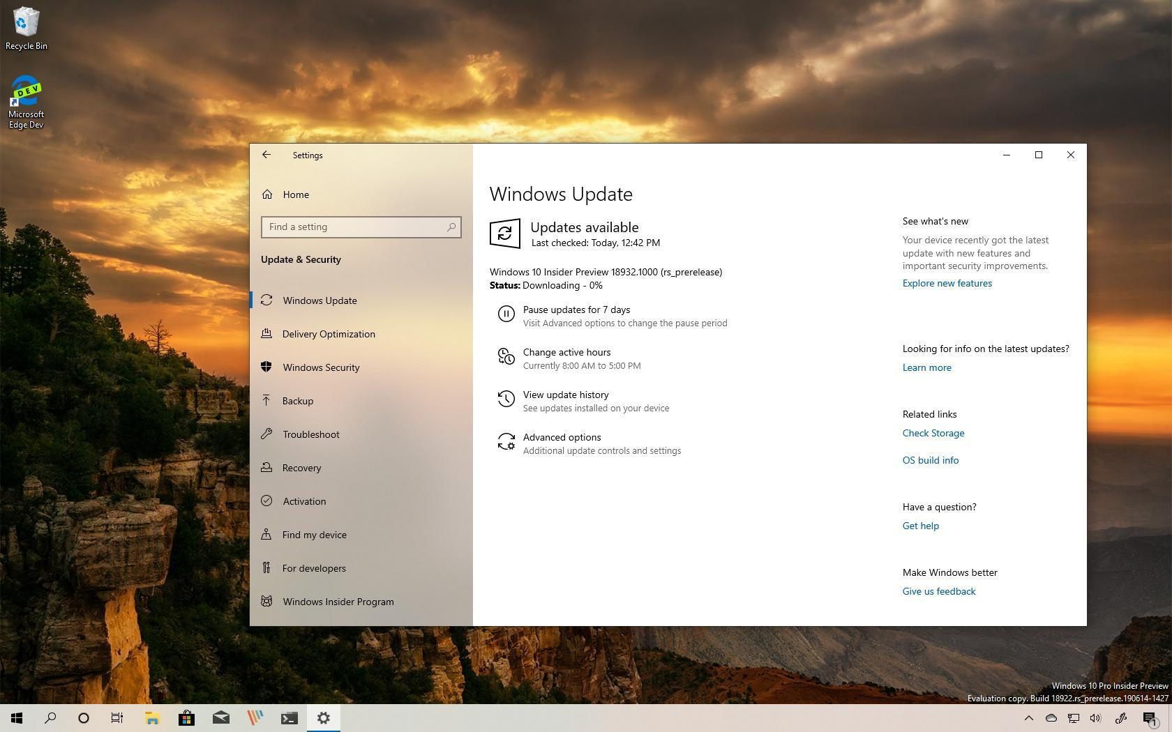 Windows 10 build 18932 (20H1)