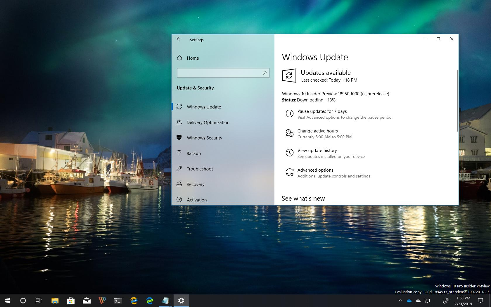 Windows 10 build 18950 (20H1) releases with new features
