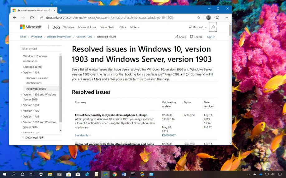Windows 10 version 1093 resolved issues