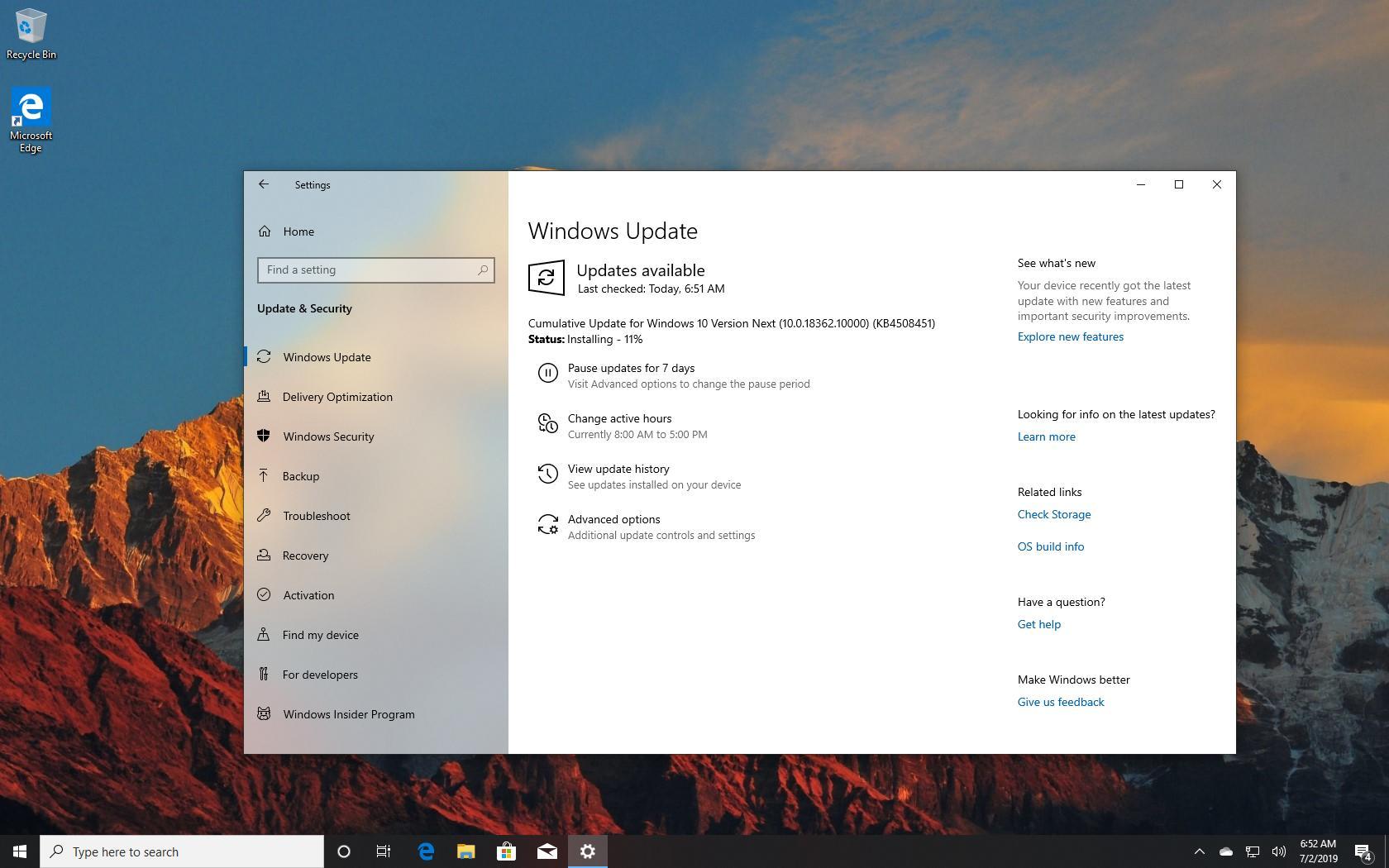 Windows 10 19H2 September release