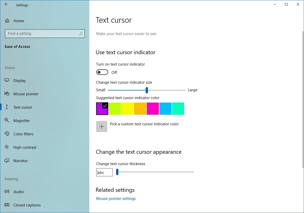 Text cursor page on Windows 10 20H1
