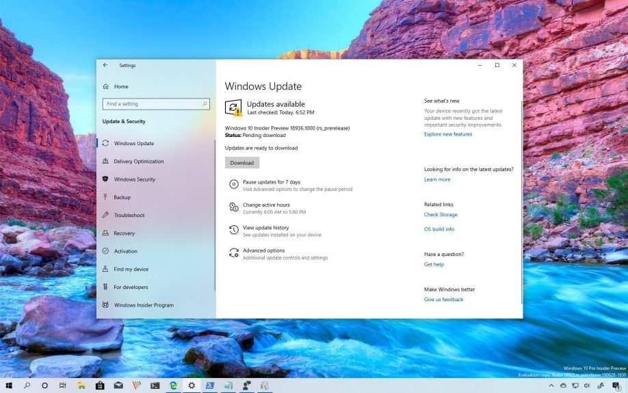 Windows 10 build 18936