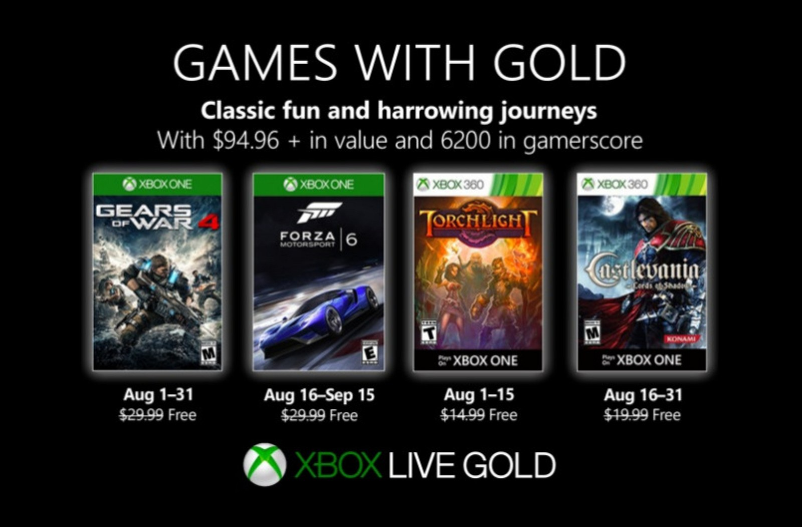 Xbox Games with Gold for August 2019