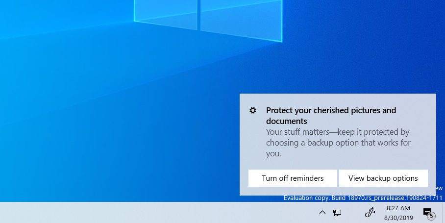 Backup your files notification on Window 10 2003